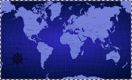 Color azul del fondo del mapa del mundo ilustración del vector