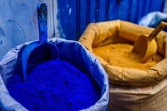 Color azul en el polvo, Chefchaouen, Marruecos Fotos de archivo