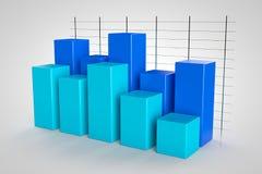 Color azul modelo del gráfico de negocio 3d en el fondo blanco Imagenes de archivo