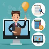 Color background analytics investment icons and display computer with businessman. Vector illustration Stock Photography