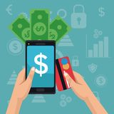 Color background analytics investment icons and hand holding a smartphone with bills and debt card. Vector illustration Royalty Free Stock Photos