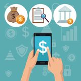 Color background analytics investment icons and hand holding a smartphone. Vector illustration Royalty Free Stock Images