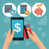 Color background analytics investment icons and hand holding a smartphone with debt card. Vector illustration Stock Image