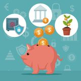 Color background analytics investment with money piggy bank and icons economy. Vector illustration Royalty Free Stock Photo