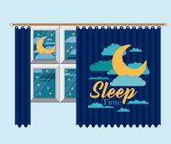 Color background of bedroom window with curtain and night landscape sleep time. Vector illustration Royalty Free Stock Photos
