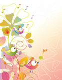 Color background with birds and flowers. Over white Royalty Free Stock Photo