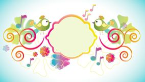 Color background with birds and flowers and label Stock Photo