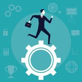 Color background business growth with businessman running over a mechanism gear. Vector illustration Royalty Free Stock Photos