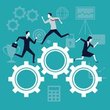 Color background business growth with business people running in mechanism gears. Vector illustration Stock Photos