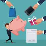 Color background of businessman carrying a piggy bank with hands holding store elements. Vector illustration stock illustration