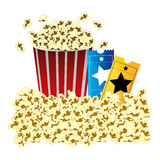 color background with butter popcorn container and movie tickets Stock Image