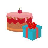 Color background with cake and gift box Royalty Free Stock Photography