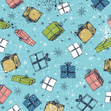 Color background with christmas gifts ,  vector Royalty Free Stock Photography
