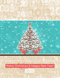 Color background with christmas tree, vector. Background with christmas tree and two squirrels, vector Royalty Free Stock Photo