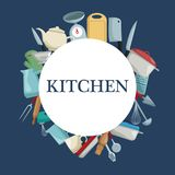 Color background with circular border with different elements kitchen. Vector illustration Royalty Free Stock Photos