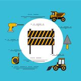 Color background circular frame with barricade in black and yellow stripes with tools for construction. Vector illustration Stock Photo