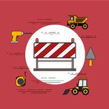 Color background circular frame with barricade in red and white stripes with tools for construction. Vector illustration Stock Photography