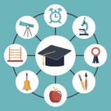 Color background with circular frame of graduation cap connected to elements academic in icons around. Vector illustration Stock Photos