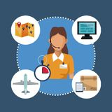Color background with circular frame of icons storage logistics and closeup secretary with auricular diadem. Vector illustration Stock Photos
