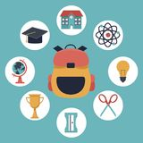 Color background with closeup briefcase school and elements academic in icons. Vector illustration Stock Photography