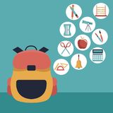 Color background with closeup briefcase school and icons floating of elements academic. Vector illustration Royalty Free Stock Photo