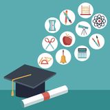 Color background with closeup graduation cap and certificated with elements academic in icons floating. Vector illustration Stock Photos