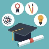 Color background with closeup graduation cap and certificated with elements academic in icons. Vector illustration Stock Photos