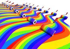 Color Background concept. 3D render image of a row of rollers brush painting ranibow trails Royalty Free Stock Image