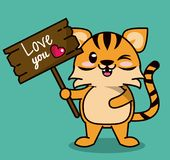 Color background with cute kawaii animal stripe tiger standing with wooden sign love you. Vector illustration Royalty Free Stock Images