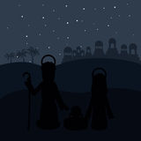 Color background in desert night of bethlehem with virgin mary and saint joseph and jesus in crib Stock Image