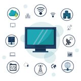 Color background with desktop computer and icons network connections and communications around Stock Photo