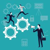 Color background with executive group running in gears mechanism and businessman with megaphone. Vector illustration Royalty Free Stock Photos
