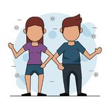 Color background with faceless couple and her in short pants. Vector illustration Royalty Free Stock Image