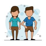 Color background with faceless couple and him in short pants. Vector illustration Royalty Free Stock Photos