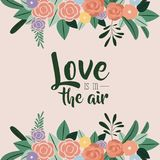 Color background with floral border ornaments and text with love is in the air. Vector illustration Stock Images