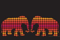 Color background with flower elephant Stock Images