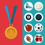 Color background with golden medal first place and banner of set elements sports. Vector illustration Stock Image