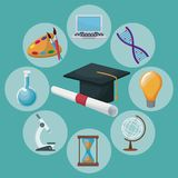 Color background graduation cap and certificate with icons academic knowledge around. Vector illustration Royalty Free Stock Images