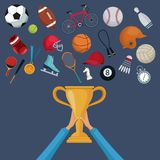 Color background with hands holding a golden trophy cup and set collection elements sport. Vector illustration Stock Image