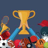 Color background with hands holding up a golden trophy cup with border down of icons elements sport. Vector illustration Stock Photos