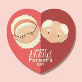 Color background of heart shape pink greeting card with caricature face happy grandparents day. Vector illustration Royalty Free Illustration
