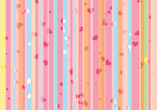 Color background with hearts. Color background with stripes and hearts stock illustration