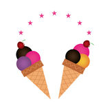 Color background with ice cream cones. Vector illustration Royalty Free Stock Images