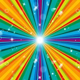 Color Background Means Multicolored Radiate And Template. Rays Background Indicating Abstract Vibrant And Multicoloured Stock Photo