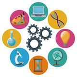 Color background mechanism gears with icons academic knowledge around. Vector illustration Royalty Free Stock Photos