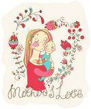 Color background with mother and baby and flowers Royalty Free Stock Photo