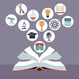 Color background with open book with elements school icons floating. Vector illustration Royalty Free Stock Photography
