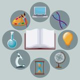 Color background open book with icons academic knowledge around. Vector illustration Stock Photos