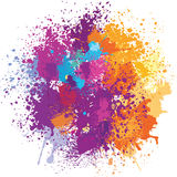 Color background of paint splashes. On white Stock Image