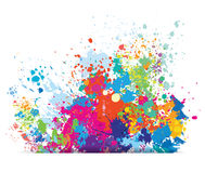 Color background of paint splashes. On white Stock Photo